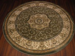 STUNNING 140CMX140CM CIRCLES RUG WOVEN&CARVED NEW ROYAL RANGE TOP QUALITY GREEN